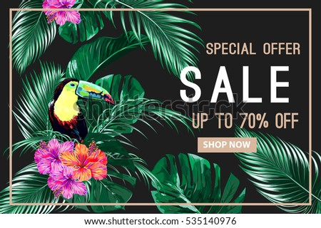 Sale banner, poster. Beautiful vector floral jungle summer background with toucan, tropical flowers, palm leaves, hibiscus