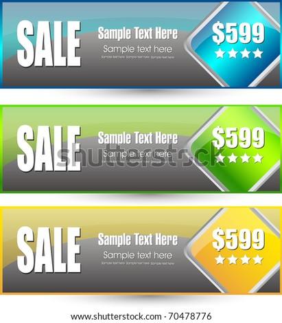 sale banner set - stock vector