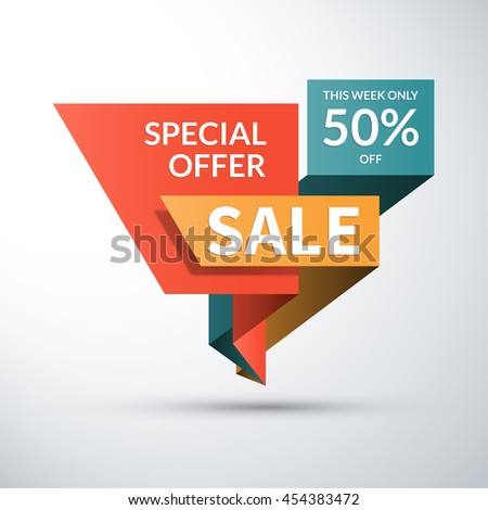 Sale banner. Special offer label. 50 percent off vector background. Half price colorful sticker. Shopping badge - stock vector