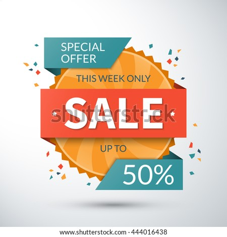Sale banner special offer template 50 stock vector 444016438 sale banner special offer template up to 50 percent off vector label or badge pronofoot35fo Image collections