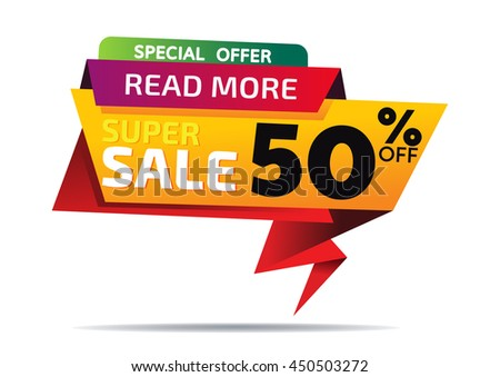 Sale banner template and special offer. 50% off for your design - stock vector