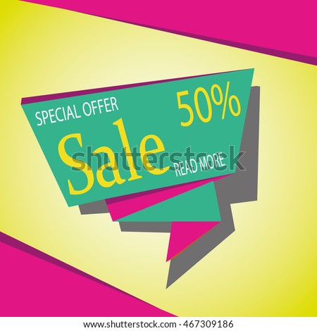 Sale banner template and special offer. 50% off. Vector illustration.