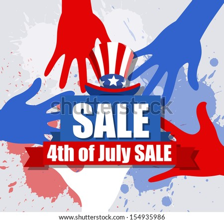 Sale banner - 4th of July Vector theme Design - stock vector