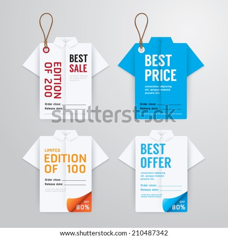 Sale banners price tag paper card template shirt origami collection.vector - stock vector