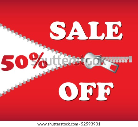 Sale board in red with zipper - stock vector