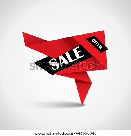Sale bubble - origami special price tag in red and black colors - stock vector