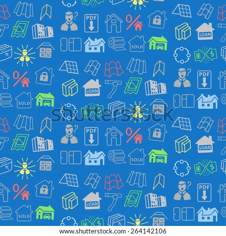 Sale buildings materials (roof, facade) seamless background isolated on white background, vector illustration - stock vector
