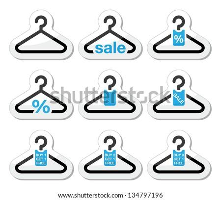 Sale, buy 1 get 1 free  hanger icons set - stock vector