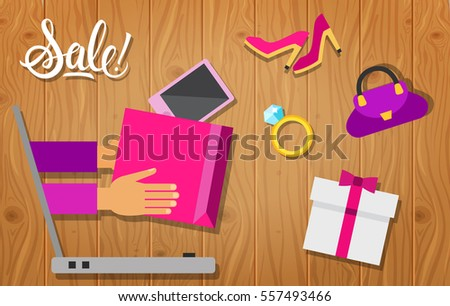 Sale Calligraphic Lettering with Laptop