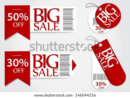 sale card red promotion percentage retail - stock vector