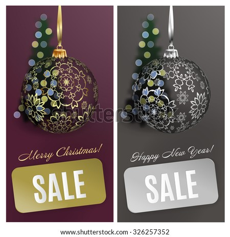 Sale Christmas vector card set sale background with ball, stripe, blurred christmas tree. Vector EPS10 - stock vector
