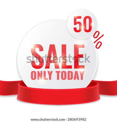 Sale circle tags with Sale 50 percent text and red ribbon. Concept of discount. Vector illustration. - stock vector