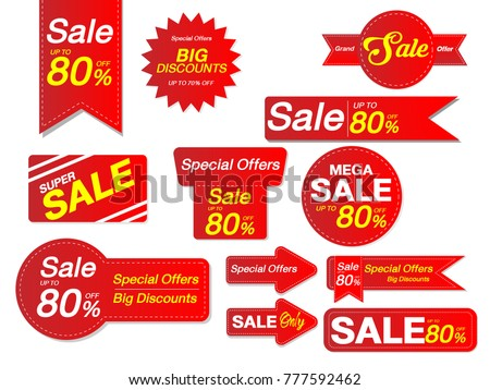 sale collection red discount stickers vector stock vector royalty