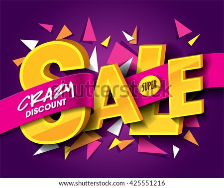 Sale concept vector banner with abstract triangle elements. sale layout design. Vector illustration. - stock vector