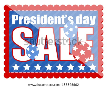 Sale Coupon in Stamp Shape - Presidents Day Vector Illustration