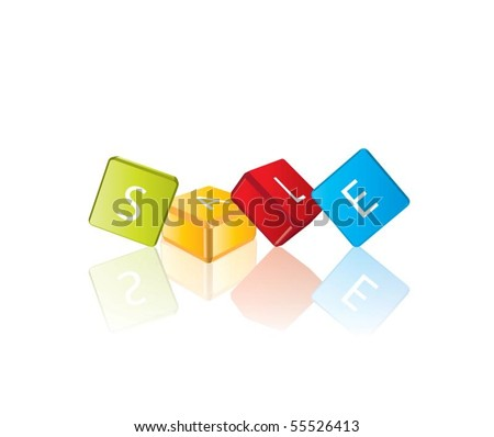 Sale (cube letters in editable vector format) - stock vector