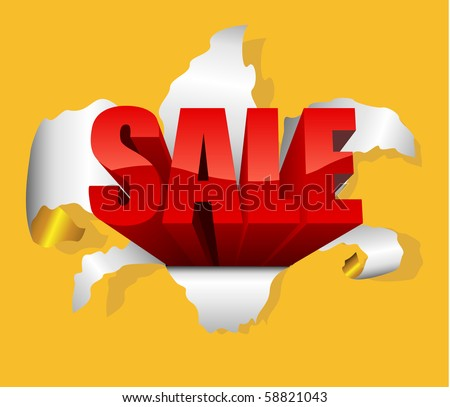 Sale design element with letters breaking through g paper. - stock vector