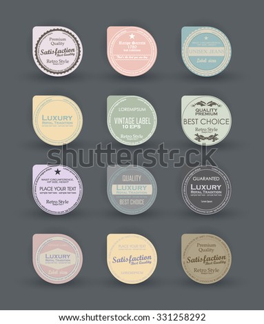 Sale design round elements. Label for black friday discount. Set vintage label design. Vector badges, labels, emblems, signs, medals and promotional stickers collection. Premium quality, 100% quality. - stock vector