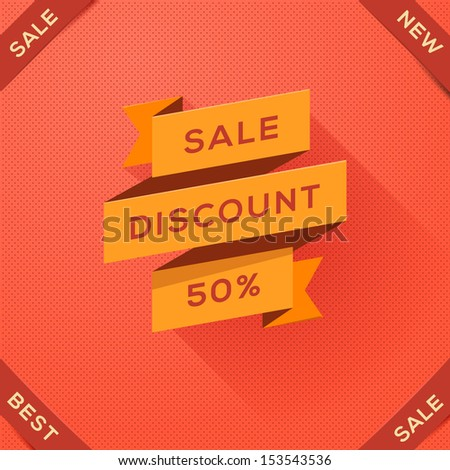 Sale, discount poster with paper folding design, vector illustration.  - stock vector
