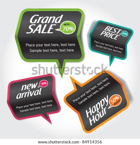 sale & discount tag, speech bubbles - stock vector