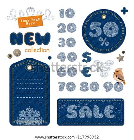 Sale elements set, jeans - stock vector