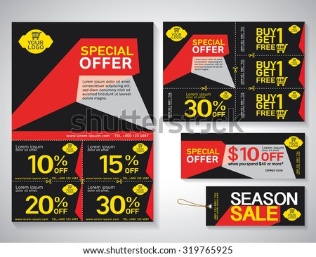 sale flyer promotions coupon banner design stock vector 319765925 shutterstock. Black Bedroom Furniture Sets. Home Design Ideas