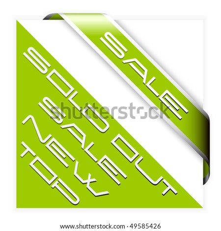 Sale green corner ribbon with white border - stock vector