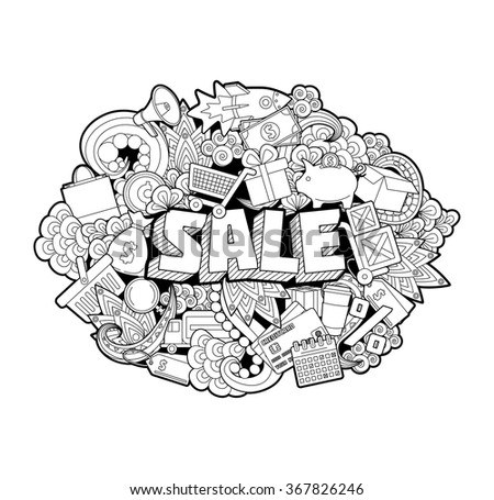 Sale - Hand Lettering and Doodles Elements Sketch on White Background. Vector illustration - stock vector