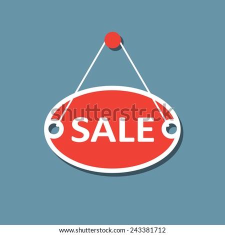 Sale hanging sign. Flat design. No transparency. No gradients. - stock vector