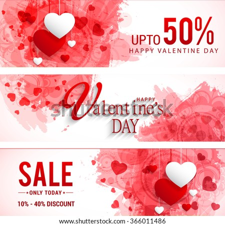 Sale header or banner set with discount offer for Happy Valentine's Day celebration. - stock vector