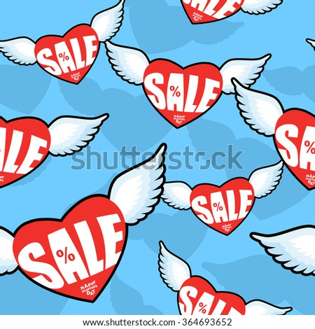 Sale heart seamless pattern. February Valentines day discounts. Ornament heart with wings. Red heart and Angel wings. Flying hearts texture for decorating shops in February.