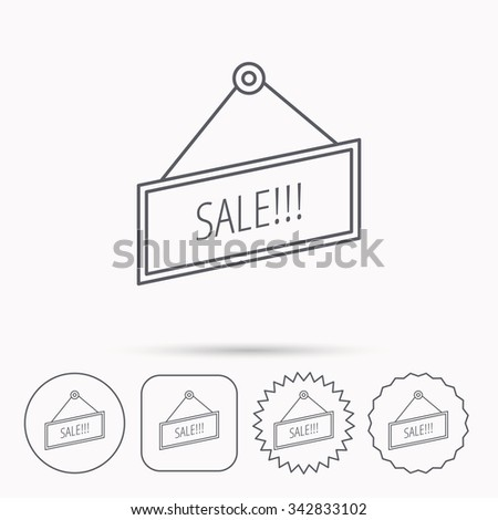 Sale icon. Advertising banner tag sign. Linear circle, square and star buttons with icons. - stock vector