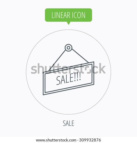 Sale icon. Advertising banner tag sign. Linear outline circle button. Vector - stock vector