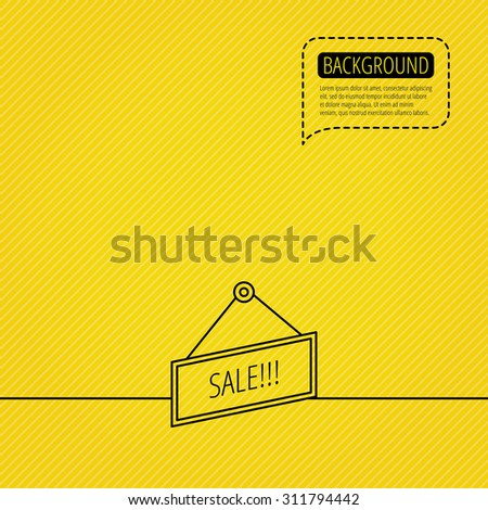 Sale icon. Advertising banner tag sign. Speech bubble of dotted line. Orange background. Vector - stock vector