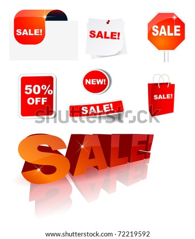 Sale icon collection, eps10 vector - stock vector