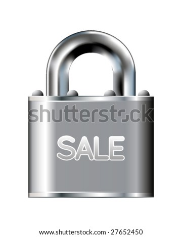 Sale icon on stainless steel padlock vector button