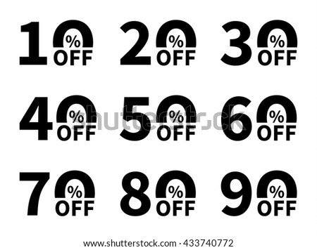Sale icon set. Discount price off and sales design template. Shopping and low price symbols. 10,20,30,40,50,60,70,80,90 percent sale. Vector illustration. - stock vector