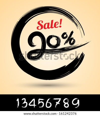 Sale ink drawn with numbers / can use for promotion. - stock vector