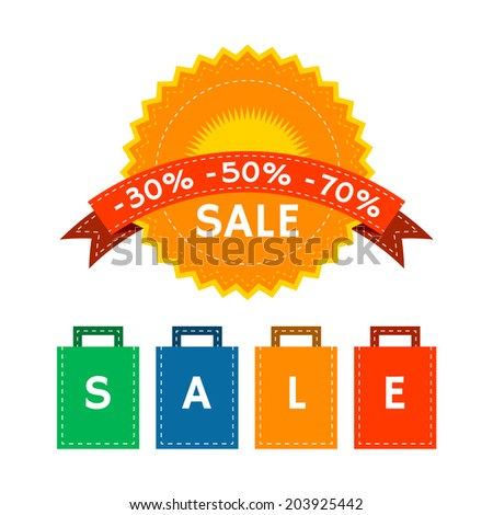 Sale Label and Paper Bags - stock vector
