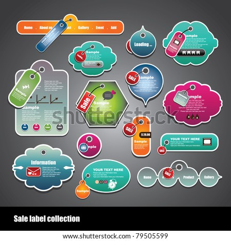 sale label collection - stock vector
