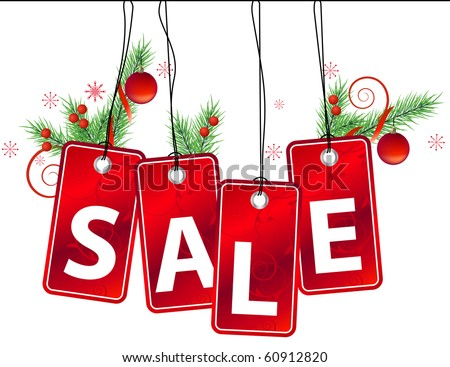 Sale label with christmas decoration - stock vector