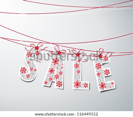 sale label with ribbons  made from snowflakes - stock vector