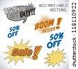 Sale Labels pop art, and comics - stock vector
