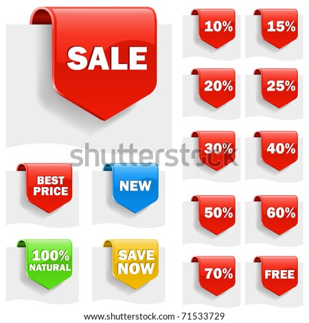 Sale labels set with variety of discounts. - stock vector