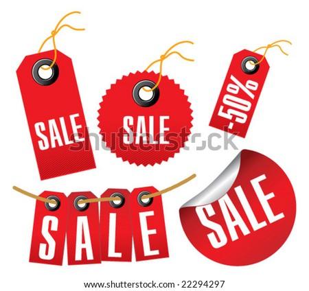Sale labels vector - stock vector