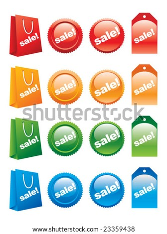 Sale labels vector - stock vector