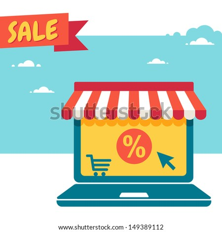 Sale. Laptop with storefront - stock vector