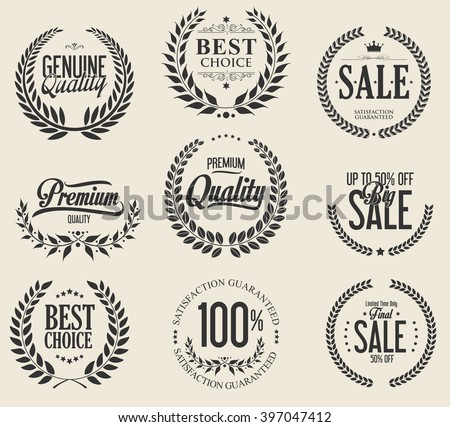 Sale laurel wreaths collection - stock vector