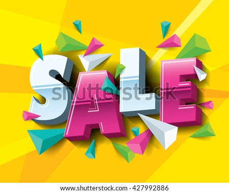 Sale layout design with abstract triangle elements. Vector illustration - stock vector