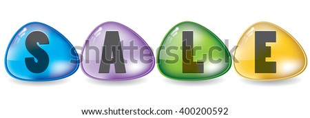 Sale letters in bright colorful buttons design
